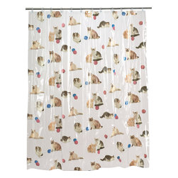 """Kitty Heaven"" Vinyl Shower Curtain - ""Kitty Heaven"" 5 gauge vinyl print shower curtain, size 72""x72"". If you love cats, then you'll be in ""Kitty Heaven"" with this Vinyl Shower Curtain. Made of a durable, heavy (5 gauge) vinyl, our standard-sized (72'' x 72'') ""Kitty Heaven"" curtain is water repellant and wipes clean easily. Wipe clean with damp sponge with warm soapy cleaning solution"