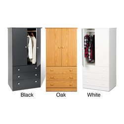 Prepac - Juvenile Wardrobe with Three Drawers (3 Finishes) - Say goodbye to your overcrowded closet with a 3 Drawer Wardrobe. With three full-sized drawers,a two-door cabinet and a hanging rod,this wardrobe is your all-in-one storage solution.