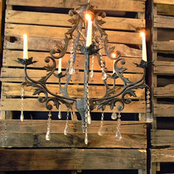 Chandelier Candleholder with Hanging Jewels, Rustic Dark Gray Metal - I am completely in love with chandelier candleholders right now, and the dripping jewels against the dark iron make this one of my favorites!