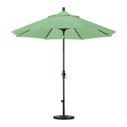 ESCADA - Pacifica 9-foot Crank and Push Button Tilt Umbrella with Base - Keep cool in the shade of this handsome round 9-foot fiberglass umbrella. Unique and durable patio furniture features a beautiful solution dyed fade resistant fabric. This state of the art durable fabric is resistant to mold and mildew.