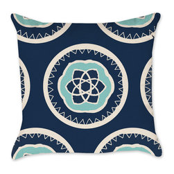 Medallion Patterned Pillow Cover in Navy and Seafoam-Natural Throw, 16x16 - Our original medallion design in Navy and Seafoam coordinates with many of our other pillows and will look great on your couch!