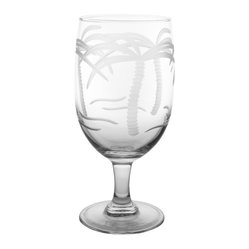 Rolf Glass - Palm Tree Iced Tea 16oz, Set of 4 - Whether it's black, green or a tropical blend, these iced tea glasses crafted from cut glass hold just enough to quench any thirst. With graceful, swaying palm trees engraved on every side, you'll swear you're in the tropics.