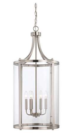 Savoy House Lighting - Savoy House Lighting 7-1041-6-SN Penrose Transitional Foyer Light - Medium - Sleek, cylindrical Penrose foyer and ceiling lights from Savoy House are an excellent choice for lovers of stylish modern design. Penrose fixtures feature clear glass and are available in Satin Nickel, Polished Nickel or English Bronze finishes.