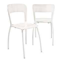 Great Deal Furniture - Oxy Stackable Acrylic Dining Chair (Set of 2) - Fill your dining room and living room with modernization and with these dining chairs. Perfect for small spaces, the stackable feature enables you to save space. These chairs will bring you the relaxation and comfort you need and will look perfect in residential or commercial areas. Supported by a lacquered metal frame and a shell that is made out of acryl.