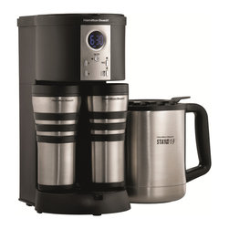Hamilton Beach - Hamilton Beach 45237 Stay or Go Custom Pair Coffeemaker - The Stay or Go Thermal Coffeemaker from Hamilton Beach brews three ways with the 10-cup insulated thermal stainless steel carafe or with the two stainless steel thermal travel mugs. It has a programmable clock/timer,automatic shutoff and drip tray.