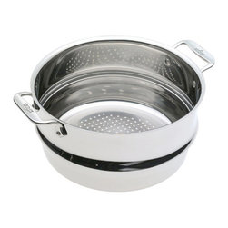 All-Clad Stainless Steel Steamer Insert - Steam vegetables  seafood  and more with the All-Clad Stainless Steel Steamer Insert.  The insert fits the All-Clad 6-Qt.  8-Qt.  and 12-Qt. stock pots.  Product Features      Premium construction   Fits All-Clad 6-Qt.  8-Qt.  and 12-Qt. stock pots   Easy grip riveted loop handles provides stability   18/10 stainless steel cooking surface will not react with food