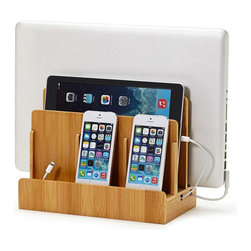 Great Useful Stuff - Bamboo Multi-Charging Station, With Usb Power Strip - Keep all your portable gadgets charged and organized with the Multi-Charging Station. With room for a laptop, tablet and up to 3 other devices this sturdy stand holds and hides unsightly cords. A magnetic base flips open to reveal a hidden storage compartment for wires that otherwise clutter up your desk space. No real techie will want to be without this essential accessory! Licensed under U.S. Patent No. 6,982,542
