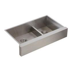 """KOHLER - KOHLER K-3945-NA Vault Undermount Smart Divide Large/Medium Double-Bowl Kitchen - KOHLER K-3945-NA Vault Undermount Smart Divide Large/Medium Double-Bowl Kitchen Sink with Shortened Apron-Front for 36"""" Cabinet in Stainless Steel"""