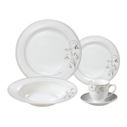 "Lorren Home Trends - Porcelain  Dinnerware Set, 24 Piece Service for 4 by Lorren Home Trends: Silver - This 24 Piece Fine Porcelain Dinnerware Set is a complete service for 4.  This elegant and stylish floral silver border design is made of fine and durable porcelain.  Great for everyday use or elegant enough for a special occasion. Set includes 4-10.5"" dinner plate, 4-8.5"" soup bowl, 4-7.5"" Salad plate, 4-8 ounce coffee cup and 4-saucers, 4-5.5"" fruit/cereal bowl.  Dishwasher safe."