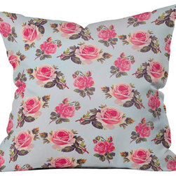 DENY Designs - Allyson Johnson Pink Roses Throw Pillow - Wanna transform a serious room into a fun, inviting space? Looking to complete a room full of solids with a unique print? Need to add a pop of color to your dull, lackluster space? Accomplish all of the above with one simple, yet powerful home accessory we like to call the DENY throw pillow collection! Custom printed in the USA for every order.
