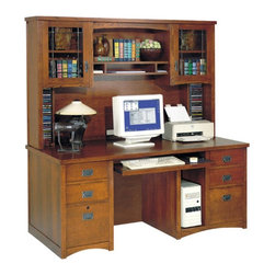 kathy ireland - kathy ireland Home by Martin Bungalow Double Pedestal Computer Desk with Optiona - Shop for Desks from Hayneedle.com! The beauty and space of this well-designed computer desk and hutch will add a rich look and organization to any office area. Complete with six drawers built in disc storage and cabinets with attractive glass fronts you'll find all the space you need for your desk accessories. Also featured are a pull-out keyboard shelf and built in storage for your computer tower. Your office will be complete when you add this computer desk and hutch.About Martin FurnitureMartin Furniture was founded in 1980 by Gil Martin in the San Diego suburb of El Cajon. Martin started the company in his garage with $400 a Craftsman table saw and the business knowledge he gained from working for defense contractor General Dynamics. The company specializes in American-made and -imported office and home entertainment furniture as well as the furniture designs for the Kathy Ireland Home Collection. Martin also imports from overseas ensuring you the best value.