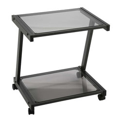 Eurostyle - Eurostyle Landon Printer Cart in Graphite Black & Smoked Glass Top - Printer Cart in Graphite Black & Smoked Glass Top belongs to Landon Collection by Eurostyle Create more desk space by placing your fax machine or printer on the Landon Printer Cart by ItalModern. This stylish printer and fax stand has two tiers for any office equipment you need to be close at hand and conveniently mobile. The printer stand is constructed from heavy powder epoxy coated steel with tempered glass shelves. Two locking casters. Includes hardware, assembly parts, and instructions. Comes in Smoked Graphite Black. Assembly level/degree of difficulty: Easy. Printer Cart (1)