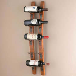 Barrel Stave Wall Wine Rack - Wine bottles displayed on wine racks fashioned from barrel staves make for instant wall art.