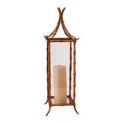 Arteriors Bamboo Small Brass/Glass Hurricane Lantern -