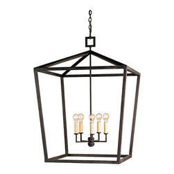 Kathy Kuo Home - Darden 4 Light Industrial Chic Open Lantern Pendant- Small - If you loved geometry class, you'll definitely love the spare lines and form of the denison lantern.  Even if you didn't love math, the celebration of negative space is positively perfect for highlighting the beauty of four bulbs.  Vintage, contemporary and industrial fans will find this smaller scaled piece most welcome and conversation-worthy.