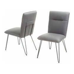 Great Deal Furniture - Bonsallo Vinyl Dining Chair (Set of 2), Grey - Accentuate any living space with these modern dining chairs. The Bonsallo dining chair is a sleek addition to sophisticate any environment with its clean angles and lines.