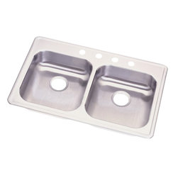 """Dayton - Elkay GE233214  Dayton Two-Bowl Sink - Elkay's GE233214 is a Dayton Two-Bowl Sink. This dual-bowl sink is constructed of 22-gauge 300 series nickel-bearing stainless steel, and can be mounted on top of almost any surface. It features 5-3/8"""" bowl depths and two 3-1/2"""" drain openings."""