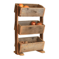 Potato/Veggie Bin - Onion Bin - Kitchen Organization - This potato/veggie bin has three boxes for storing your often-used produce. Keep everything close at hand and organized is rustic food organizer. Also works great for other uses such as bathroom or craft room organization.