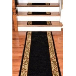 """Dean Flooring Company - Dean Premium Carpet Stair Treads - Talas Floral Black Plus a Matching 5' Runner - Dean Premium Carpet Stair Treads - Talas Floral Black Plus a Matching 5' Runner : Premium Carpet Stair Treads by Dean Flooring Company. Color: Black Face: 100% Polypropylene. Backing: Woven. Edges: Finished on all four sides with color matching yarn. Set includes 13 pieces plus a matching 5' runner for your landing. Each tread measures approximately 31"""" x 9"""". Easy to spot clean and vacuum. Helps prevent slips on your hardwood stairs. Great for helping your dog easily navigate your slippery staircase. Reduces noise. Reduces wear and tear on your hardwood stairs. Attractive: adds a fresh new look to your staircase. Easy, affordable DIY installation with double sided carpet tape (not included). Add a touch of warmth and style to your home today with stair treads from Dean Flooring Company!"""
