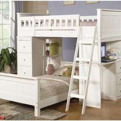 Acme Furniture - Cottage White Finish Wood Twin Loft Bunk Bed with Chest Hutch - - Classic Cottage Style