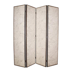 Screen Gems - Navarro Privacy Screen Divider - Add a natural, romantic look in a heartbeat with the Navarro 4-Panel Room Divider. Perfect for defining your space. Double sided screen is crafted of sturdy fir with a textured burlap front decorated in a tufted ash fabric with letter design. 80 in. W x 84 in. H (120 lbs.)