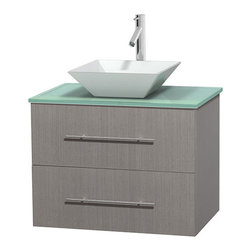 "Wyndham Collection - Centra 30"" Grey Oak Single Vanity, Green Glass Top, Pyra White Porcelain Sink - Simplicity and elegance combine in the perfect lines of the Centra vanity by the Wyndham Collection. If cutting-edge contemporary design is your style then the Centra vanity is for you - modern, chic and built to last a lifetime. Available with green glass, pure white man-made stone, ivory marble or white carrera marble counters, with stunning vessel or undermount sink(s) and matching mirror(s). Featuring soft close door hinges, drawer glides, and meticulously finished with brushed chrome hardware. The attention to detail on this beautiful vanity is second to none."