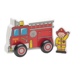 The Original Toy Company - The Original Toy Company Kids Children Play To The Rescue Display of 6 - This life like Fire Truck has removable Fireman figure that can be velcroed to the side of the truck. Easy grip with moveable wheels. Made of solid hardwood construction. These Fire Trucks are sold in a color counter display with 6 trucks contained.
