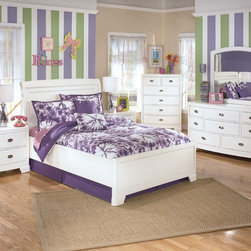 ALYN - 7 PIECE KIDS BEDROOM SET - PACKAGE INCLUDES: TWIN PANEL BED, DRESSER, MIRROR, CHEST, NIGHTSTAND.