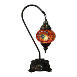JayBazaar - Stunning Design Mosaic Lamp - Sunset Swan - Authentic Desk Lamp , Moroccan Style Lamp , Night Lamp, Exotic Lamp