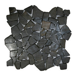"Pebble Tile Shop - Glazed Grey Mosaic Tile - Each pebble is carefully selected and hand-sorted according to color, size and shape in order to ensure the highest quality pebble tile available.  The stones are attached to a sturdy mesh backing using non-toxic, environmentally safe glue.  Because of the unique pattern in which our tile is created they fit together seamlessly when installed so you can't tell where one tile ends and the next begins!     Usage:    Shower floor, bathroom floor, general flooring, backsplashes, swimming pools, patios, fireplaces and more.  Interior & exterior. Commercial & residential.     Details:    Sheet Backing: Mesh   Sheet Dimensions: 12"" x 12""   Pebble size: Approx 3/4"" to 2 1/2""   Thickness: Approx 3/8""   Finish: Glazed Gray"