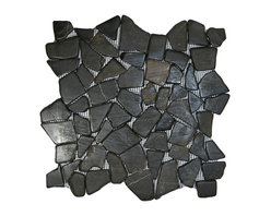 """CNK Tile - Glazed Grey Mosaic Tile - Each pebble is carefully selected and hand-sorted according to color, size and shape in order to ensure the highest quality pebble tile available.  The stones are attached to a sturdy mesh backing using non-toxic, environmentally safe glue.  Because of the unique pattern in which our tile is created they fit together seamlessly when installed so you can't tell where one tile ends and the next begins!     Usage:    Shower floor, bathroom floor, general flooring, backsplashes, swimming pools, patios, fireplaces and more.  Interior & exterior. Commercial & residential.     Details:    Sheet Backing: Mesh   Sheet Dimensions: 12"""" x 12""""   Pebble size: Approx 3/4"""" to 2 1/2""""   Thickness: Approx 3/8""""   Finish: Glazed Gray"""