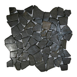 "CNK Tile - Glazed Grey Mosaic Tile - Each pebble is carefully selected and hand-sorted according to color, size and shape in order to ensure the highest quality pebble tile available.  The stones are attached to a sturdy mesh backing using non-toxic, environmentally safe glue.  Because of the unique pattern in which our tile is created they fit together seamlessly when installed so you can't tell where one tile ends and the next begins!     Usage:    Shower floor, bathroom floor, general flooring, backsplashes, swimming pools, patios, fireplaces and more.  Interior & exterior. Commercial & residential.     Details:    Sheet Backing: Mesh   Sheet Dimensions: 12"" x 12""   Pebble size: Approx 3/4"" to 2 1/2""   Thickness: Approx 3/8""   Finish: Glazed Gray"