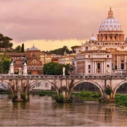 """Rome Wall Mural Wall Mural - Capture the beauty of Rome on your walls with a magnificent mural of renaissance and baroque style architecture. An impressive scene featuring St. Peter's Basilica standing brilliantly above the River Tiber adds an awe-inspiring allure to your wall. This peel and stick panel stands at 12'1"""" x 8'4""""."""
