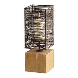 Cyan Design - Vail Candleholder - Small - Small vail candleholder - raw iron and natural wood