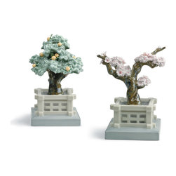 """Lladro Porcelain - Lladro Japanese Tree Pots Mandarine And Cherry Figurine - Plus One Year Accident - """"Hand Made In Valencia Spain - Included with this sculpture is replacement insurance against accidental breakage. The replacement insurance is valid for one year from the date of purchase and covers 100% of the cost to replace this sculpture (shipping not included). However once the sculpture retires or is no longer being made, the breakage coverage ends as the piece can no longer be replaced. """""""