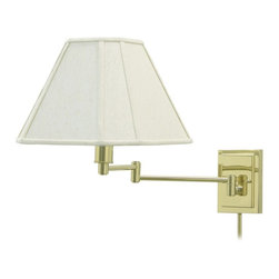 "House Of Troy - Traditional Brass With Beige Shade Plug-In Swing Arm Wall Lamp - Its polished brass finish and beige linen shade give this House of Troy plug-in wall lamp a cool cosmopolitan feel. Swing arm extends (20"" maximum) for light positioning. To install attach lamp base to wall and plug into standard wall outlet (11 feet of ivory colored cord and a 30"" cord cover included). Takes one 100 watt 3-way bulb (not included). Shade attaches via harp and finial; measures 9 1/4"" across the top 12 1/2"" across the bottom and 5 1/2"" high. Lamp is 15 1/2"" high. Backplate is 6"" high 4 1/2"" wide.  Polished brass finish.  Beige linen shade; attach via harp/finial.  Extending swing arm (20"" max.)   Plug-in design (includes cord and cover).  Takes one 100 watt 3-way bulb (not included).   Lamp is 15 1/2"" high.  Backplate is 6"" high 4 1/2"" wide."