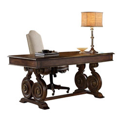 Hooker Furniture - Hooker Furniture Adagio 66 Inch Writing Desk - Hooker Furniture - Writing Desks - 509110459 - Grand scale, classic design and soft, flowing shapes are married with a rich, dark finish to give birth to the stunning Adagio collection.