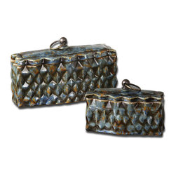 Uttermost - Neelab Ceramic Containers, Set of 2 - These Ceramic Containers Feature A Distressed Pale Blue Finish With Reddish Brown Accents And Caramel Highlights. Removable Lids. Sizes: Sm-7x5x3, Lg-10x6x4