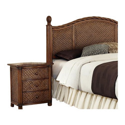 Home Styles - Home Styles Marco Island Queen/Full Headboard and Night Stand Set-King size - Home Styles - Bedroom Sets - 55446015 - Marco Island Queen/Full Headboard and Night Stand by Home Styles is island inspired displaying a rich blend of materials including Natural Rattan woven wicker Mahogany solids and veneers in a refined cinnamon finish.   The design encompasses a twisted Rattan edging on the Queen/Full Headboard with intricate woven rattan panels and solid mahogany bed posts with carved pineapple finials. This is a Queen headboard and will accommodate Full and Queen Bed Frames. Headboard contains interior padding for additional comfort. Size: 65.25w 3.5d 53h Perfect as a night stand or accent table this night stands design encompasses intricate Natural Woven rattan Panels a Twisted Rattan edged top and solid mahogany post with leather wrapped strapping. Other features include three large storage drawers with easy-glide side mounted metal guides and matching sculpted Palm Mahogany hardware. Size: 21.25w 17.75d 24.75h.  Assembly required.