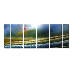Pure Art - Distant Horizons Modern Metal Art Set of 6 - A surrealistic landscape unfolds in this colorful metal wall art. The foreground features rippling fields or perhaps ridges at the foot of a mountain. The foreground unfolds in a variety of colors and is highlighted with slivery white. A lone tree draws the eye, however, to the deepest part of the artwork: A long, flowering tree of spring against a deep blue sky.Made with top grade aluminum material and handcrafted with the use of special colors, it is a very appealing piece that sticks out with its genuine glow. Easy to hang and clean.