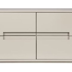 Latitude Oat Low Dresser - This is sleek and modern, and I love the cutout in the center. My husband would love the equally sized drawers too.
