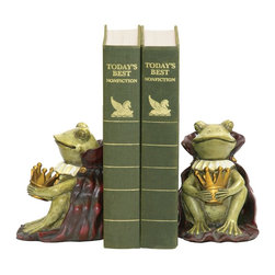 Sterling Industries - Sterling Industries Pair Frog Prince Bookends X-1111-19 - From the Frog Prince Collection, this Sterling Industries pair of bookends is designed with whimsy in mind. The two frogs are mirror images of one another, each seated upon his burgundy cape. The green coloring of the frog accentuates the white color and the gold crown.