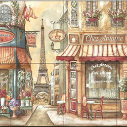 The Tile Mural Store (USA) - Tile Mural - Boutique  - Kitchen Backsplash Ideas - This beautiful artwork by Charlene Audrey has been digitally reproduced for tiles and depicts a street scene with a cafe.  This street scene tile mural would be perfect as part of your kitchen backsplash tile project or your tub and shower surround bathroom tile project. Street scenes images on tiles add a unique element to your tiling project and are a great kitchen backsplash idea. Use a street scene tile mural, perhaps a Tuscan theme tile mural, for a wall tile project in any room in your home where you want to add interesting wall tile.