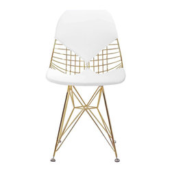 Meelano - M245 Chair in Gold and White, Gold & White - Dazzle your friends and make the rest of your house jealous with this eye-catching chair. Crafted with organic spokes, you will lounge in complete comfort. Its padded backrest and seat is a modernist dream come true.