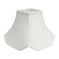 None - Square Off-white Pagoda Lamp Shade - Give your lamp fresh perspective with this casual square pagoda lamp shade. This attractive lamp shade is constructed of metal and lined silk fabric in an off-white color.