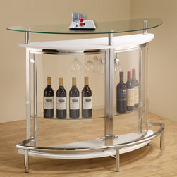 "Coaster - Bar Unit - White - Create a modern entertainment room with this bar unit in white. Featuring a durable tempered glass table top and a transparent acrylic outer shell. Two large shelves and a stemware rack make it easy and convenient to entertain your guests.; Wine stem rack; 5x stronger tempered glass; Contemporary style; Dimensions: 50.75""L x 20.00""W x 41.00""H"