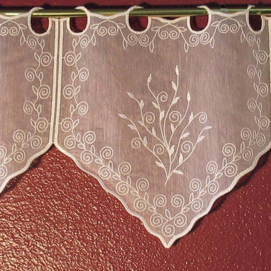 "Macrame Ring Lace - Verena pattern - Embroidered Voile Lace Valances and Tiers imported from France normally used with very little gather.  Available per foot as wide as you wish and purchased by the foot.  Comes in several lengths.  The 12"" length is $5.95 per foot."