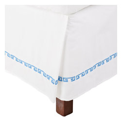 Kendell King Bed Skirt Cotton - White/Light Blue - This bed skirt is part of the Kendell Collection. It features a greek-style colored design on white.