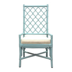 "Selamat - Ambrose Blue Dining Chair - The Ambrose dining chair's Berber-inspired lattice work gives it an airy texture. Chic and versatile, this contemporary chair boasts a tall stature and soft seat. Sustainably-grown rattan with leather bindings; Hand-applied blue finish; Upholstered rice fabric with poly fiber fill; 23""W x 23""D x 44.5""H; Seat: 19""H; Arm: 22""H"