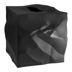 Essey of Denmark - Essey Wipy Cube Tissue Box Holder - Black - The Wipy tissue box holder measures 5x5x5 and fits all major tissue brands such as Kleenex and Puffs. Wipy comes in white, black, and red. Wipy is a perfect companion for the Essey Bin bin Waste Basket for your bathroom or other room in your home. The crumpled paper look of Bin Bin is incorporated into the styling of Wipy. Wipy was designed by John Brauer and is produced in Finland by Essey of Denmark. Wipy is made of thermoplastic elastomer.